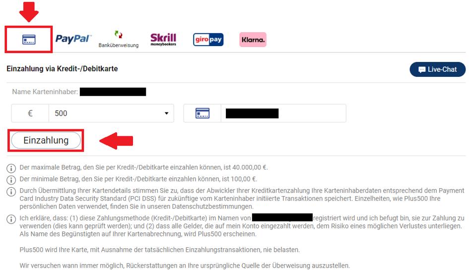 Geld einzahlen bei Plus500 mit Kreditkarte um ETH zu kaufen
