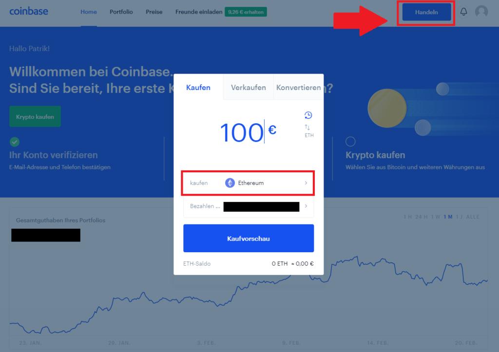 Ethereum bei Coinbase kaufen
