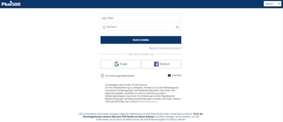 Registrierung bei Plus500 um ETH zu kaufen