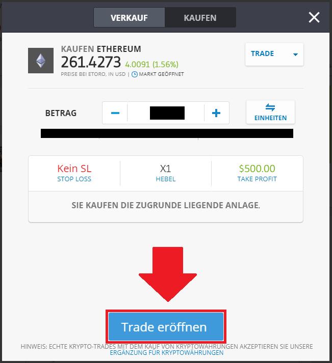 Trade eröffnen bei eToro um ETH zu erwerben - Einzahlung mit Kreditkarte
