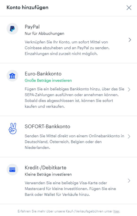 Geld einzahlen bei der Krypto Börse Coinbase