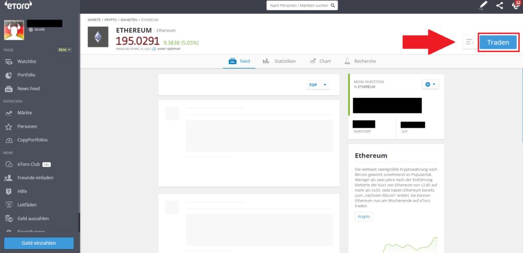 Ethereum kaufen PayPal - Button Traden klicken in der Schnellanleitung