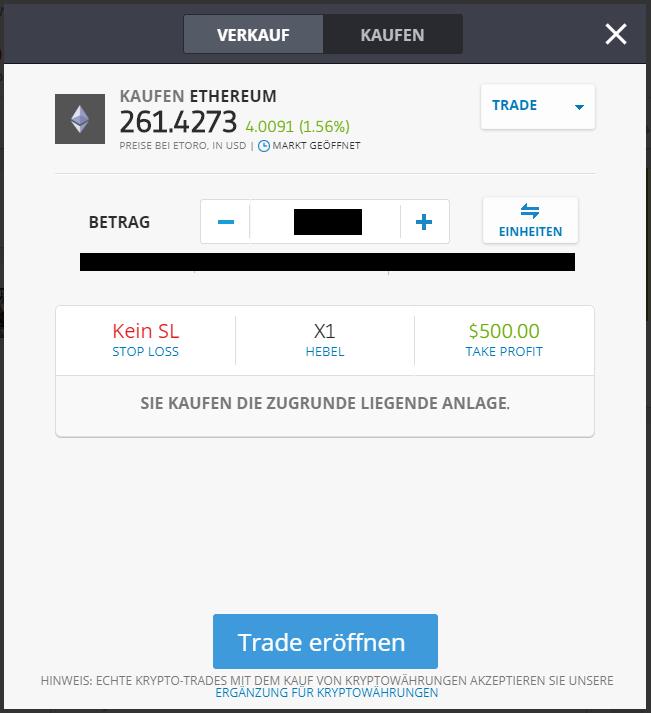 ETH kaufen - Trade platzieren Schnellanleitung eToro