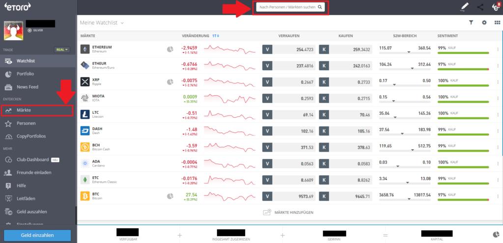 Marktübersicht Ethereum bei eToro - Entweder mit Suchleiste oder Märkte