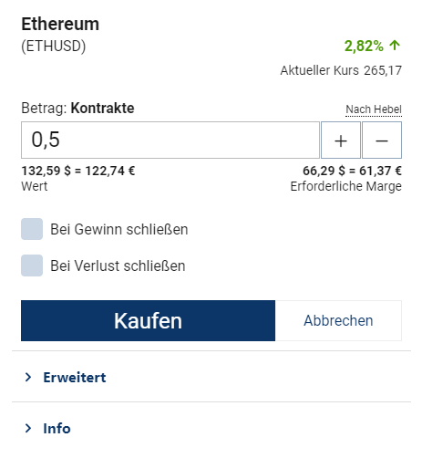 Ethereum kaufen - Kaufen Button Einzahlung mit PayPal