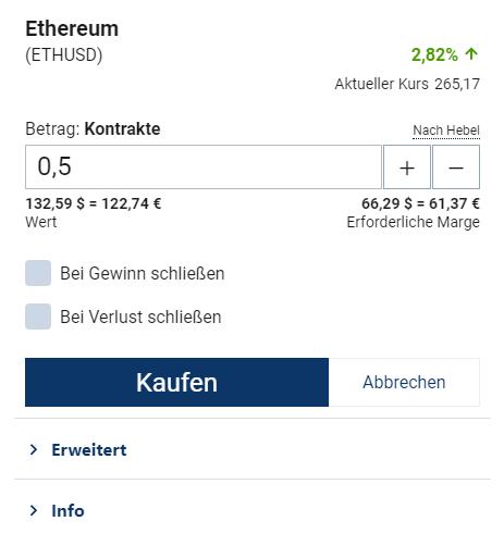 Ethereum kaufen bei Plus500 - Button Trade ausführen