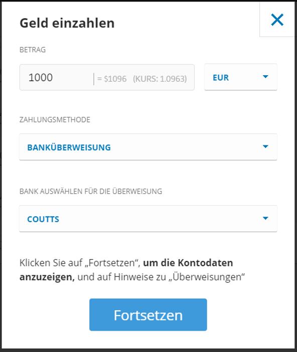 Geld einzahlen bei eToro mit der Zahlungsmethode SEPA in der Button Anleitung