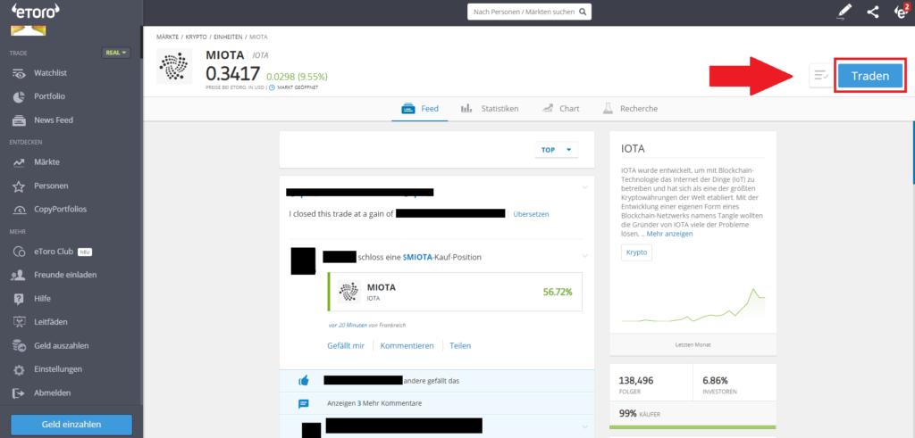 Iota Schnellanleitung - Klick auf Traden Button