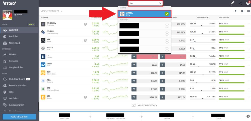 Markt-Auswahl Iota bei eToro