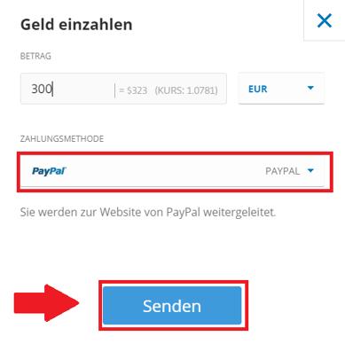Auswahl der Zahlungsmethode, um Iota mit Euro zu kaufen