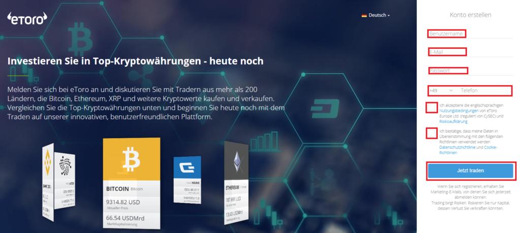 Iota mit Euro kaufen - Registrierung beim Online-Broker eToro