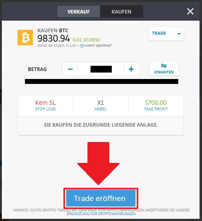 Schnellanleitung Kryptos mit PayPal kaufen - Trade eröffnen Button