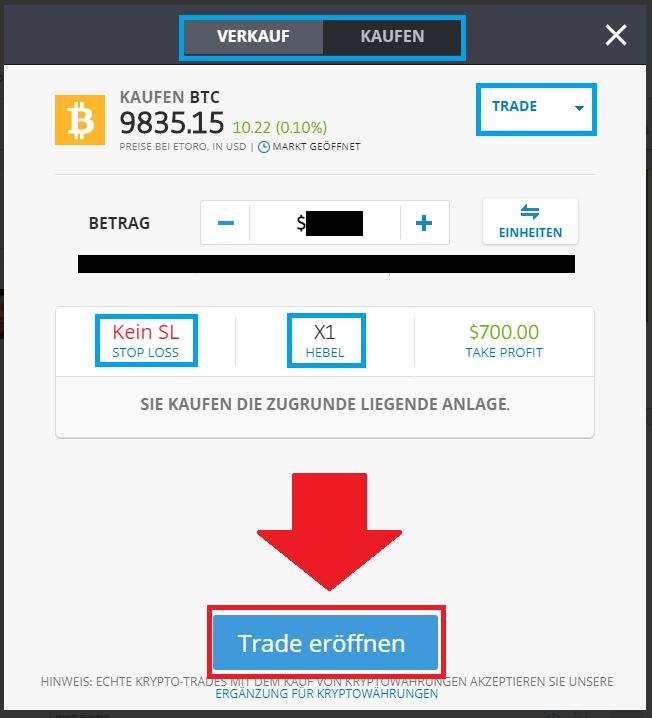 Trade platzieren um Kryptowährungen mit Paypal zu kaufen