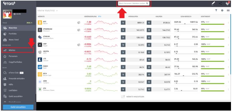 Dashboard vom Online Broker erklärt - Markt Suchleiste auswählen