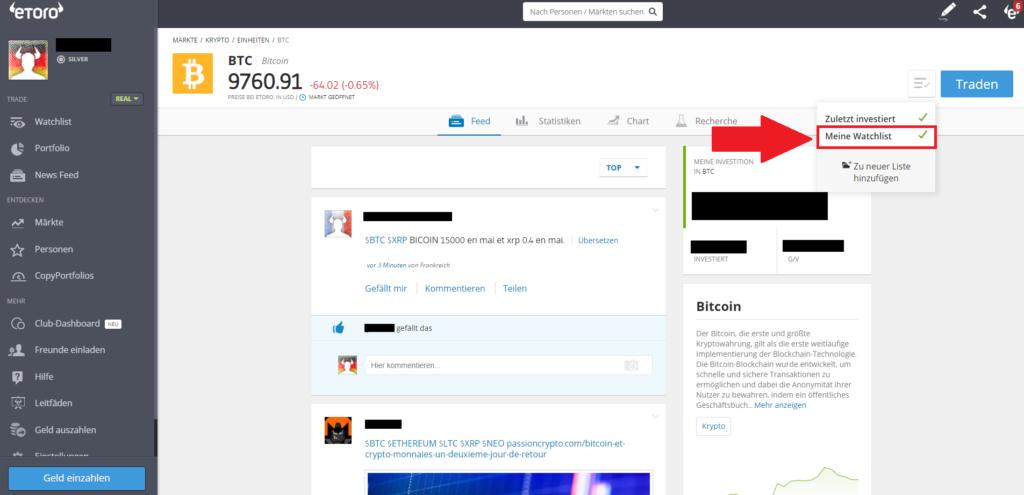 Button Watchlist - Krypto mit PayPal kaufen