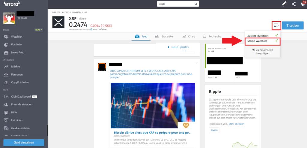 Ripple XRP kaufen - Hinzufügen in der Watchlist