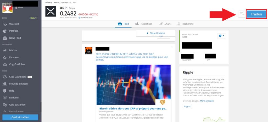 Ripple mit PayPal kaufen - Klicke den Traden Button an