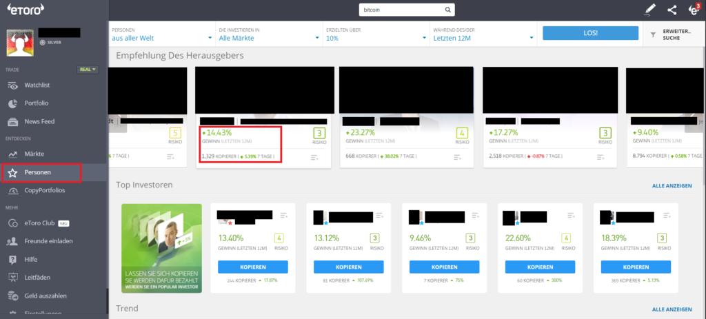 Öffentliche Trader bei der Social Trading Plattform eToro kopieren