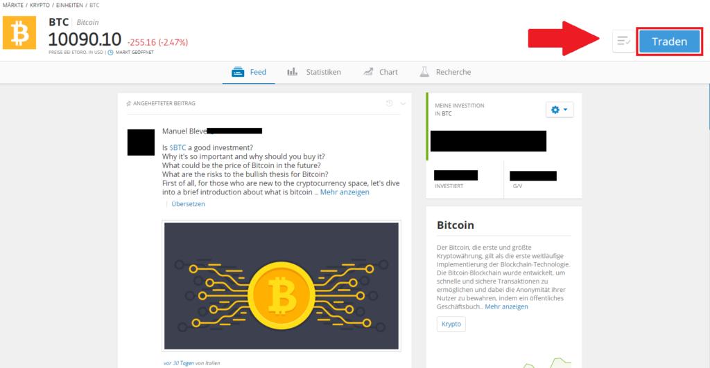Der Markt Bitcoin in der Übersicht beim Broker eToro - Günstig Bitcoin erwerben