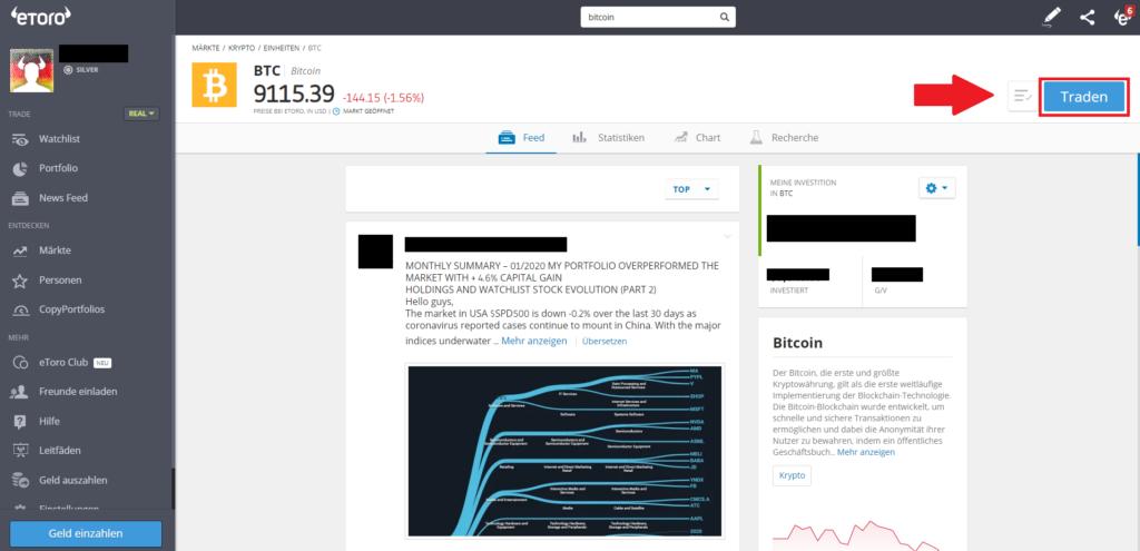 Schnellanleitung: Übersicht Bitcoin eToro Markt