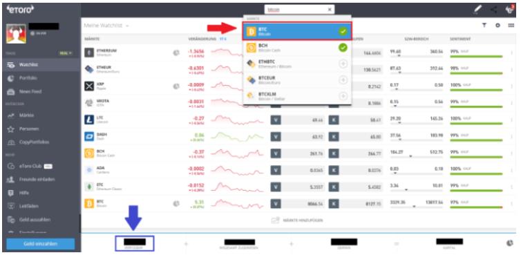 In der Suchleisten den Markt Bitcoin auswählen