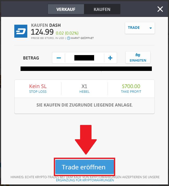 Dash kaufen PayPal Schnellanleitung - Trade platzieren eToro