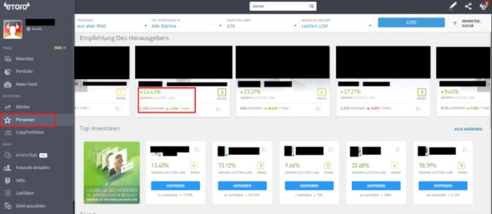 Copy-Trading Öffentlichen Trader bei der Plattform eToro kopieren
