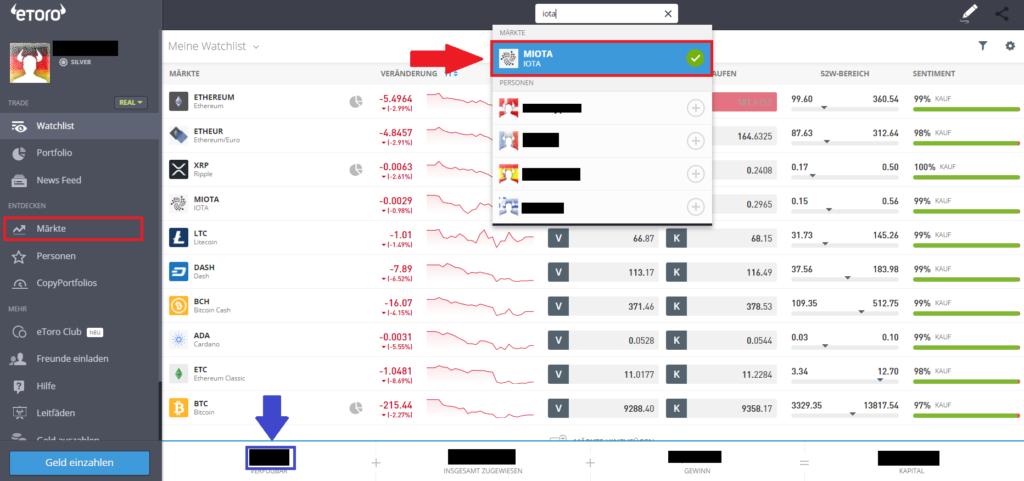 Markt Iota beim Broker eToro auswählen