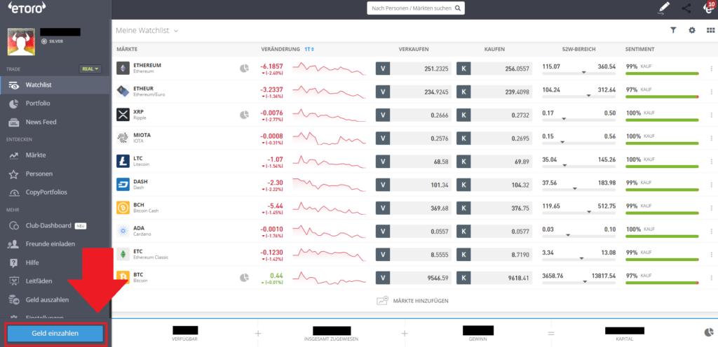 Geld einzahlen beim Broker eToro um die Kryptowährung Iota zu erwerben