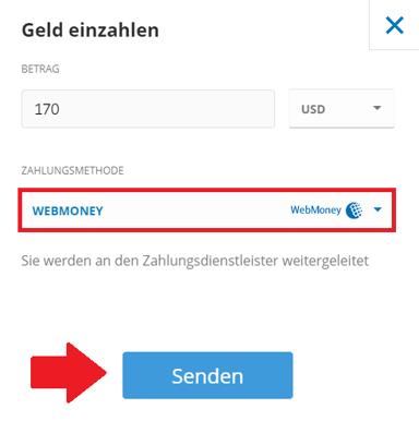 Geld bei eToro mit der Zahlungsmethode WebMoney einzahlen
