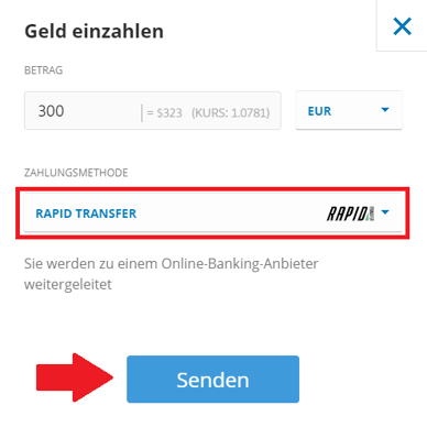 Geld einzahlen bei eToro mit RapidTransfer für XRP Kauf