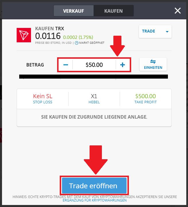 Tron kaufen - Trade setzen in der Schnellanleitung eToro