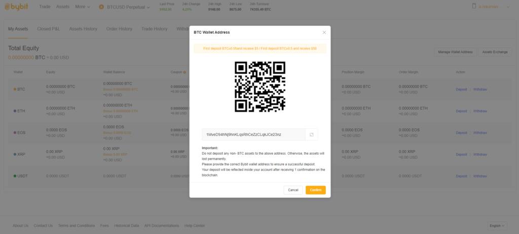 Bitcoin einzahlen bei der Plattform Bybit