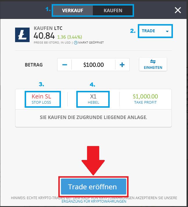 Erklärung der Trading-Funktionen bei eToro