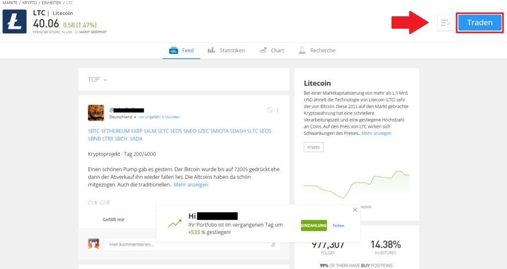 Markt Litecoin - Traden Button um Litecoin zu kaufen