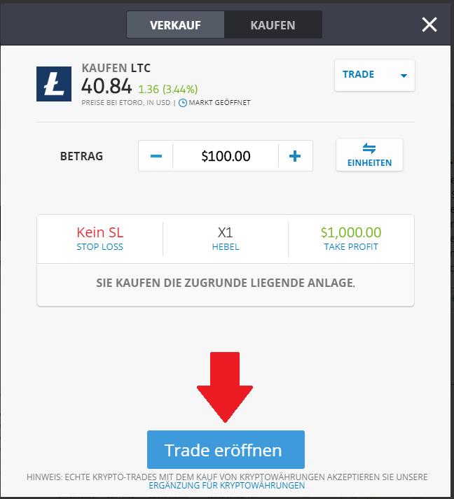 Schnellanleitung LTC Trade bei eToro platzieren