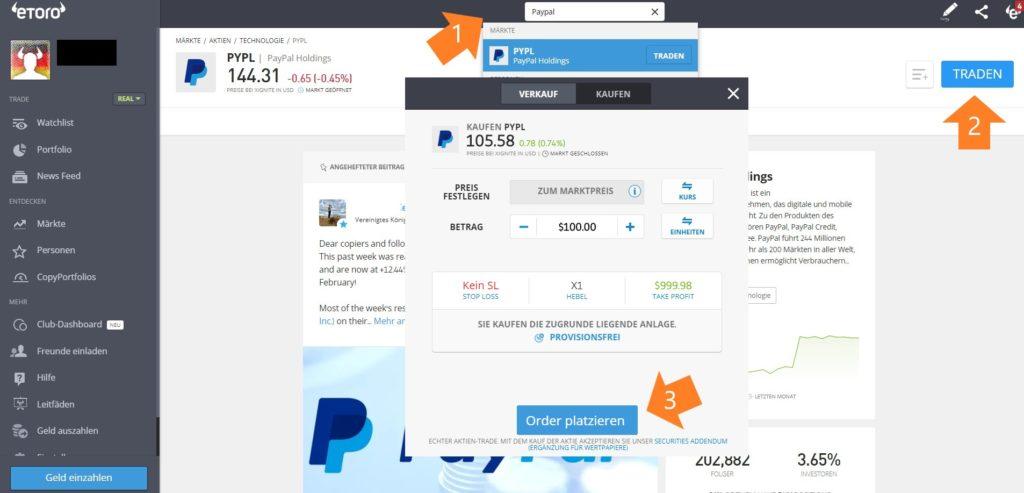 PayPal Aktie bei eToro kaufen