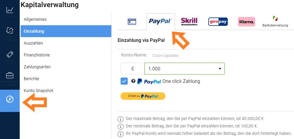 Plus500 PayPal Einzahlung