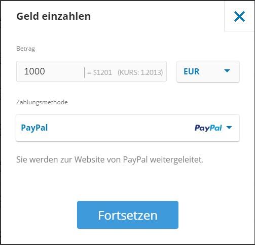 Bei eToro mit PayPal einzahlen